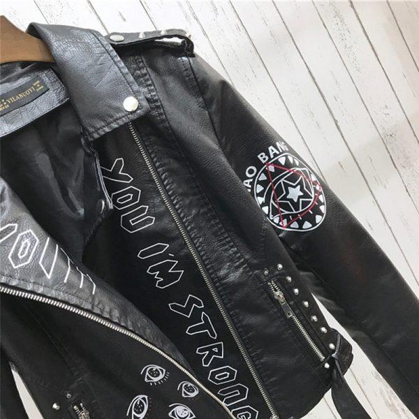 Punk Gothic Egirl Faux Soft Leather Jacket 5