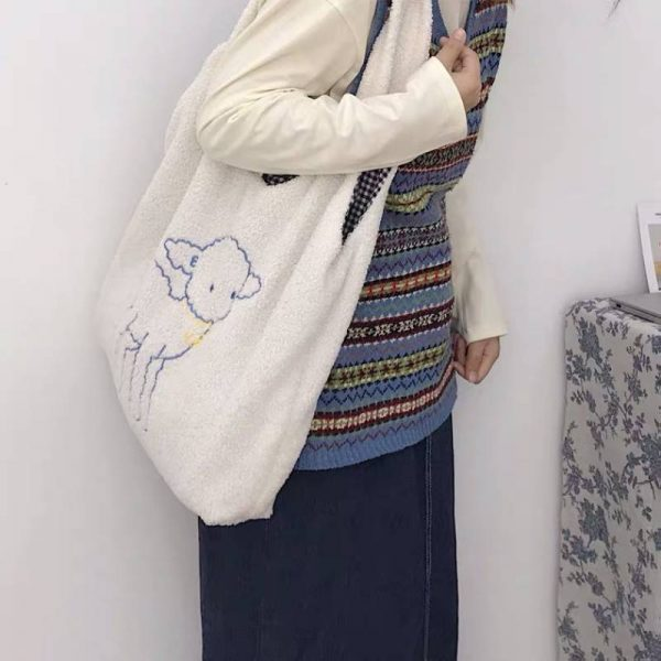 Soft girl Egirl Harajuku Soft Shoulder Bag with cute animal embroidery 1