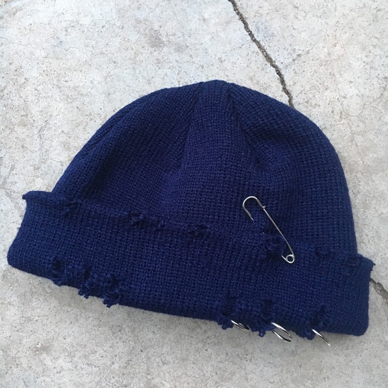 Harajuku Grunge Winter Knitted Hat with Holes, rings and pins 70