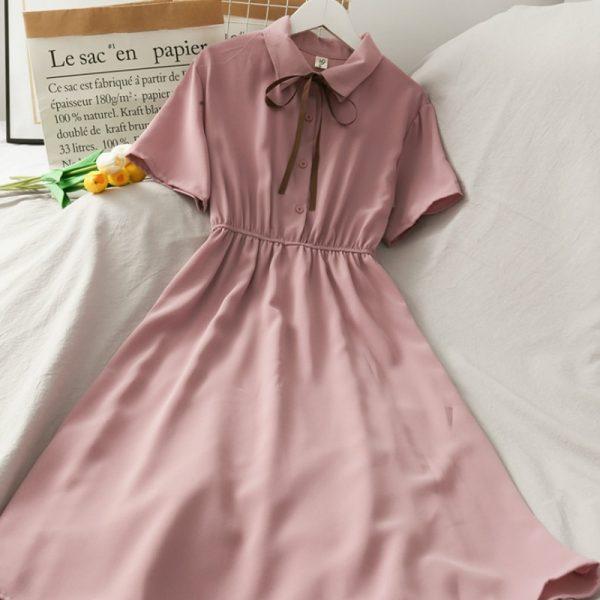 Harajuku Soft girl Chiffon  Dress with Bow 3