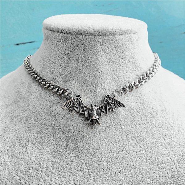 Gothic Egirl Eboy Bat Chain Necklace 1