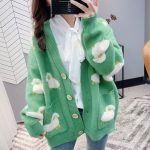 Cute Knitted Loose Cardigan with sheep 4