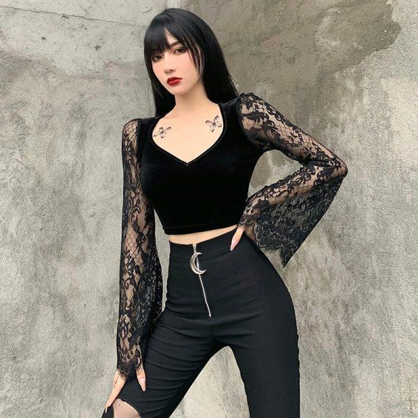 Egirl Gothic Velvet Lace Top 4