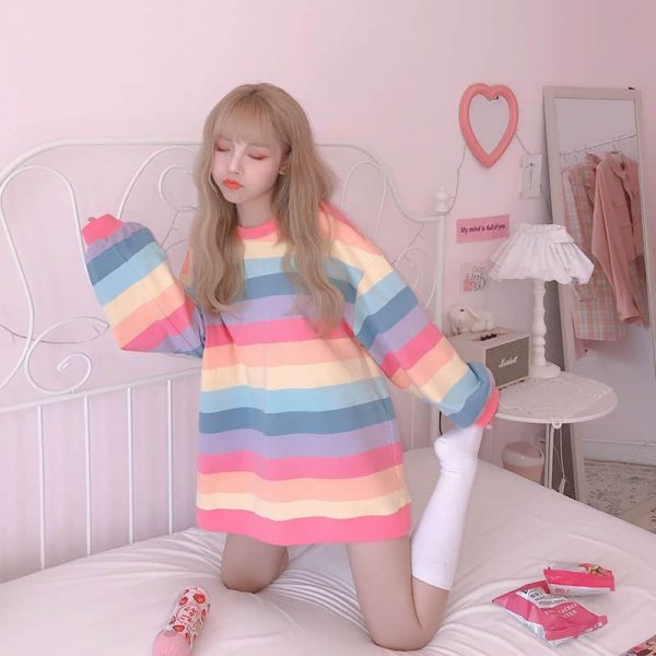 Soft Girl Harajuku Rainbow Striped T-shirt 4