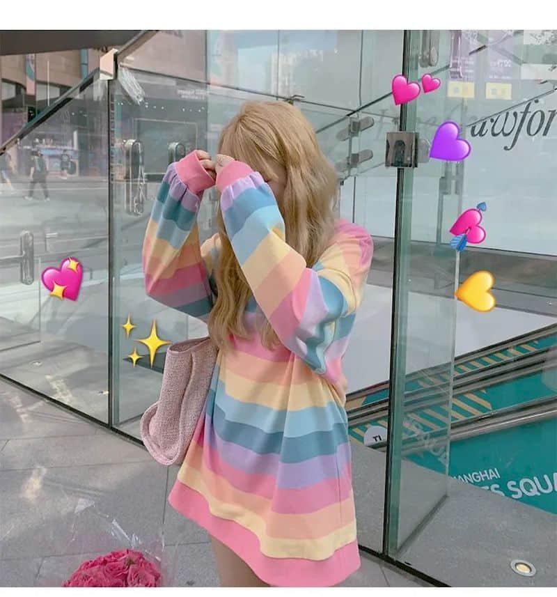Soft Girl Harajuku Rainbow Striped T-shirt 45