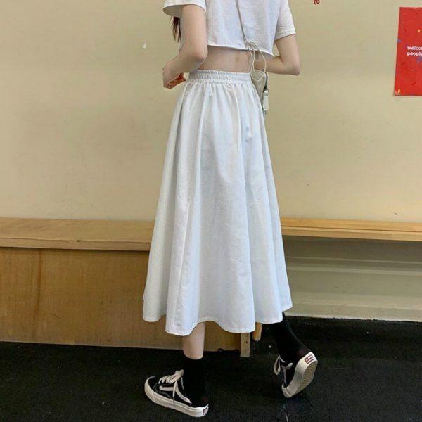 Harajuku Long Skirts A-line with elastic band 5