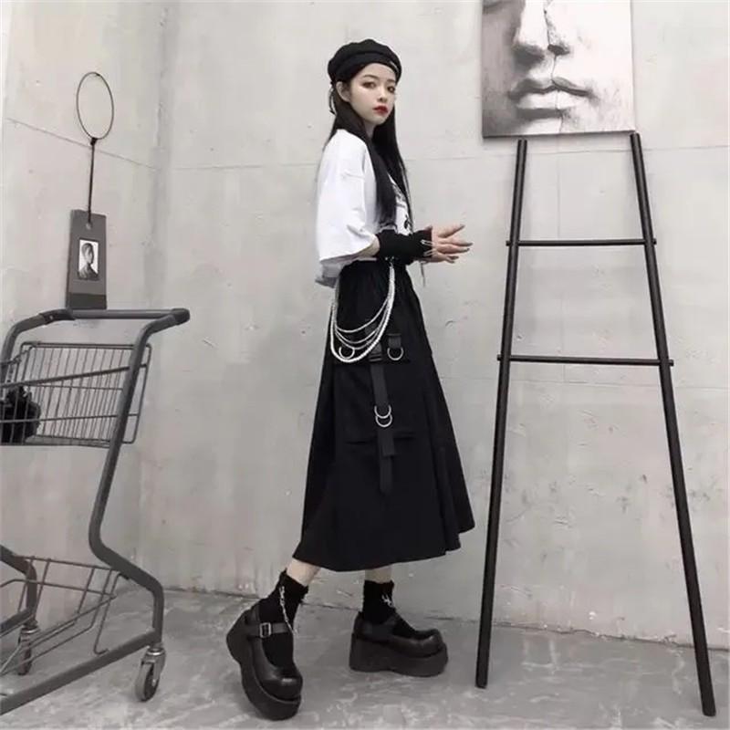 Harajuku Punk High Waist Loose A-line Cargo Skirts with chain 59