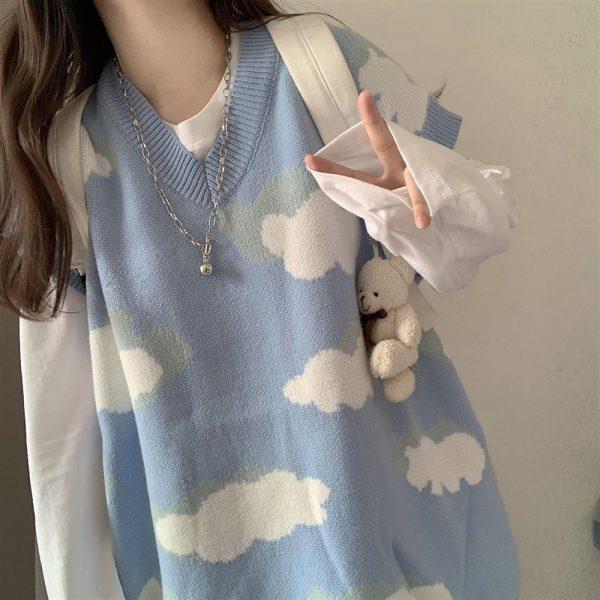 Harajuku Kawaii Pullovers with cloud print long or short sleeves 5