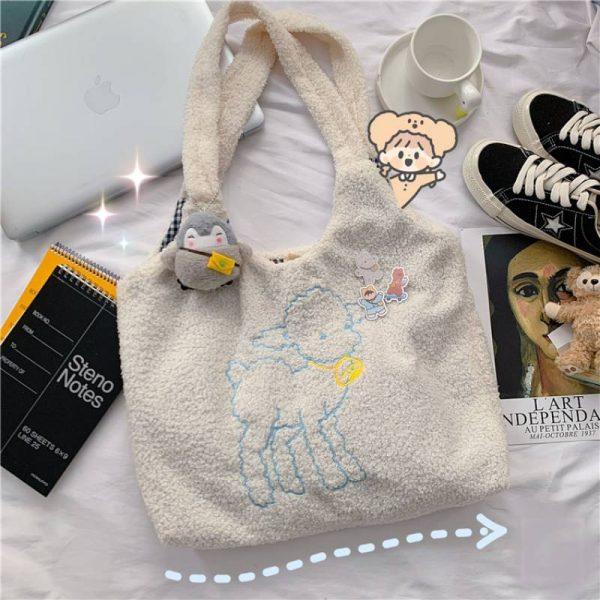 Soft girl Egirl Harajuku Soft Shoulder Bag with cute animal embroidery 3