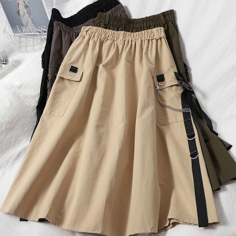 Harajuku Punk High Waist Loose A-line Cargo Skirts with chain 58