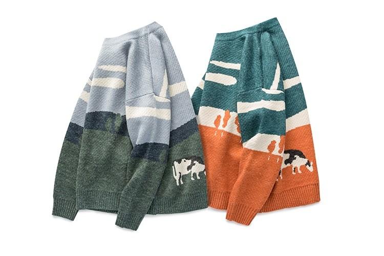 Eboy Egirl Y2K Vintage Cows print Sweaters 42