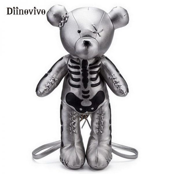 Egirl Eboy Gothic Skeleton Bear Backpack  1