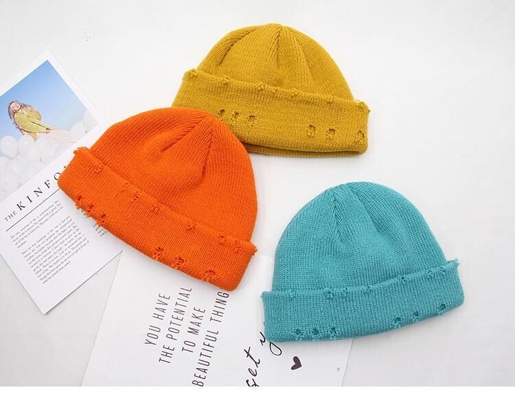 Harajuku Grunge Winter Knitted Hat with Holes, rings and pins 55