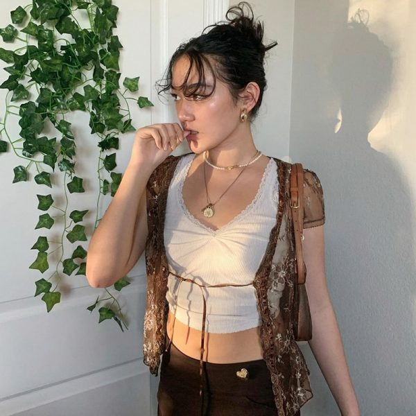 Soft girl Y2K Lace Crop Top 25