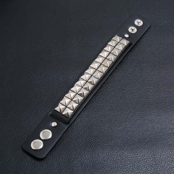 Egirl Eboy Punk Leather Wristband with Metal Rivets 4