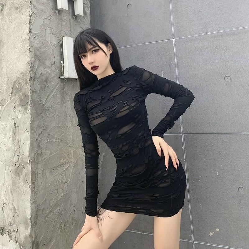 Egirl Gothiс Punk Mini Dress with holes 42