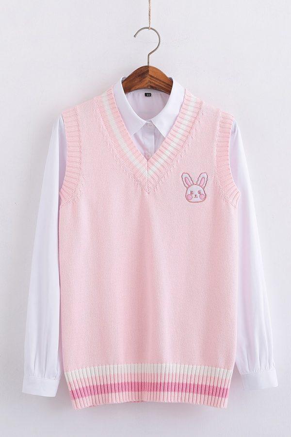 Egirl Soft girl Harajuku Pink vest with Small rabbit Embroidery 5