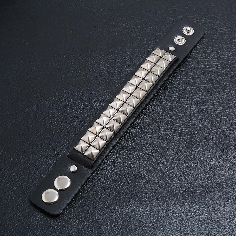 Egirl Eboy Punk Leather Wristband with Metal Rivets 45