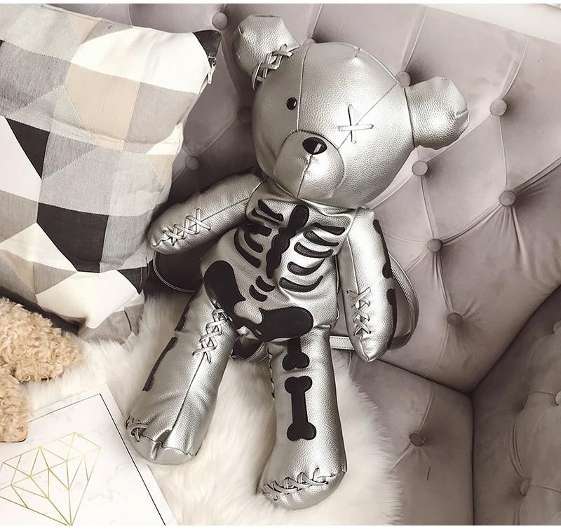 Egirl Eboy Gothic Skeleton Bear Backpack 44