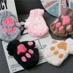 Plush Cat Paw Fingerless Mittens 6