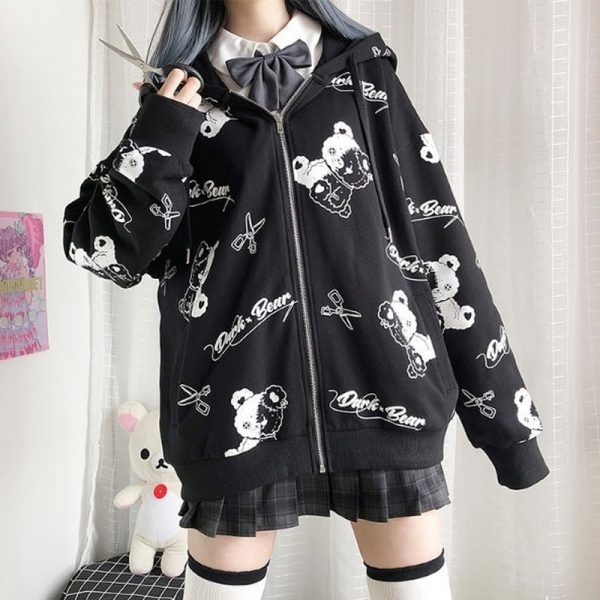 Harajuku Egirl Gothic Hoodies with bear print 1