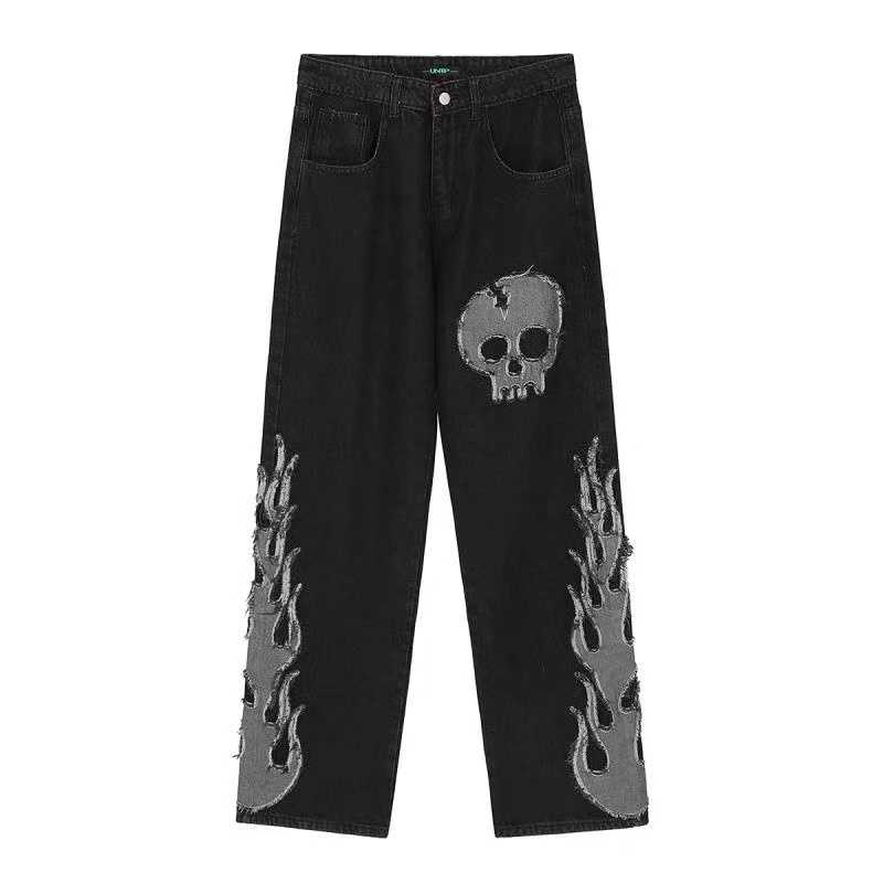 Egirl Harajuku Goth Jeans with skull and flame decor 52