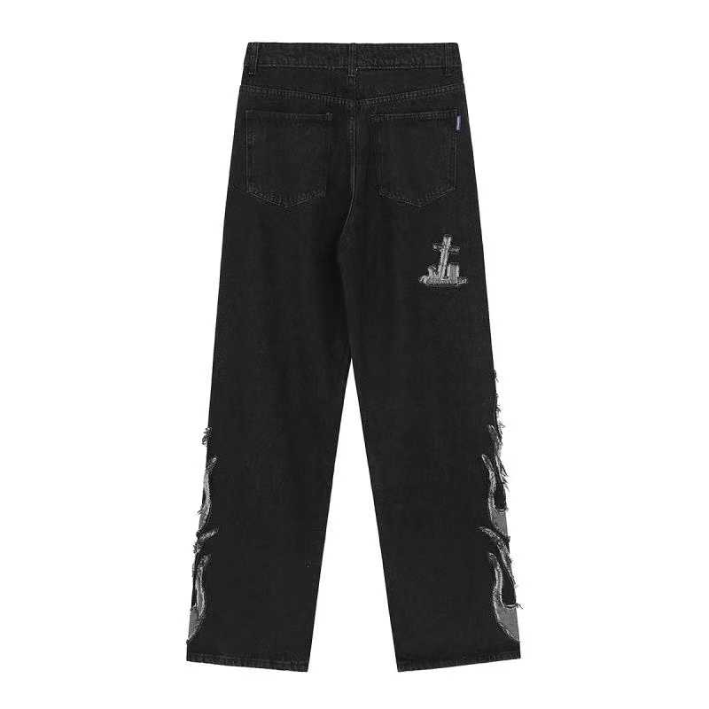 Egirl Harajuku Goth Jeans with skull and flame decor 51