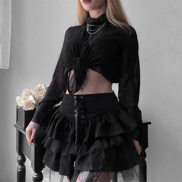 Egirl Gothic Lace Up Mini Skirt 2