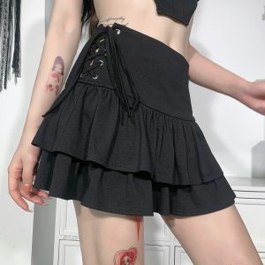 Gothic Skirt with High Waist and Bandage 4