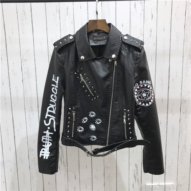 Punk Gothic Egirl Faux Soft Leather Jacket 41