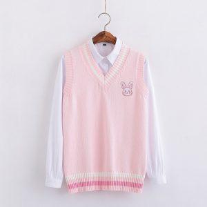 Egirl Soft girl Harajuku Pink vest with Small rabbit Embroidery 1