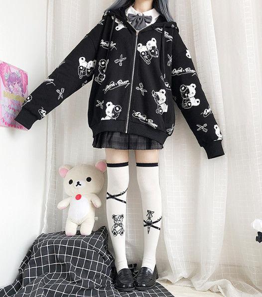 Harajuku Egirl Gothic Hoodies with bear print 49