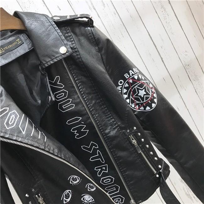 Punk Gothic Egirl Faux Soft Leather Jacket 50