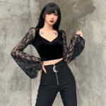 Egirl Gothic Velvet Lace Top 3