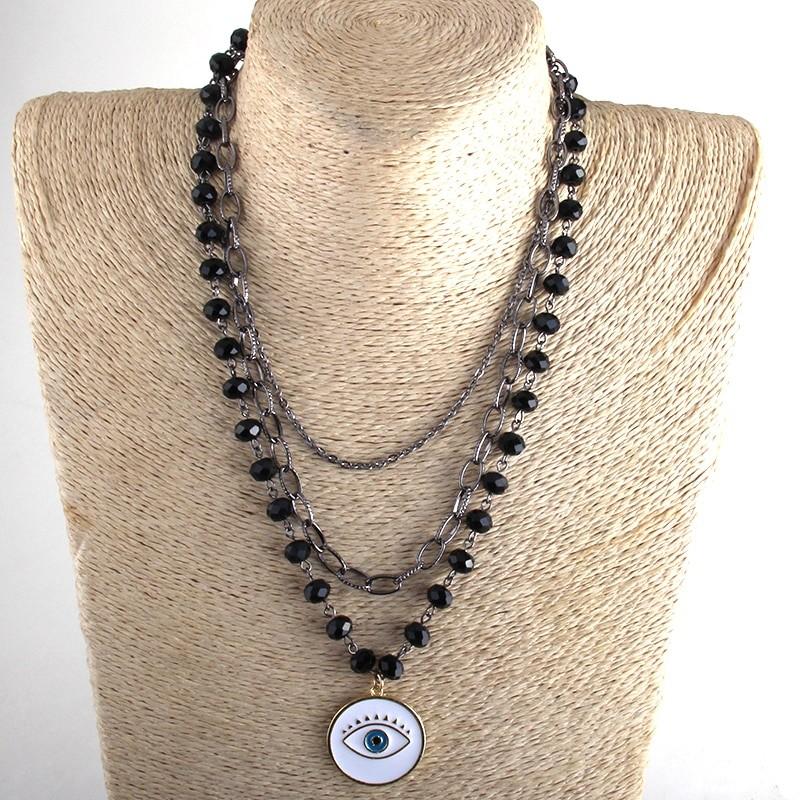 Egirl Eboy Gothic Necklaces Multiple Rosary & Chain Cross Pendant 45