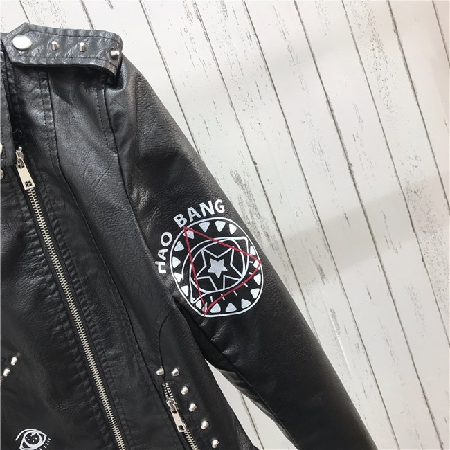 Punk Gothic Egirl Faux Soft Leather Jacket 45