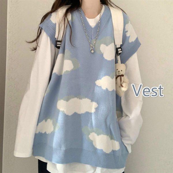 Harajuku Kawaii Pullovers with cloud print long or short sleeves 3