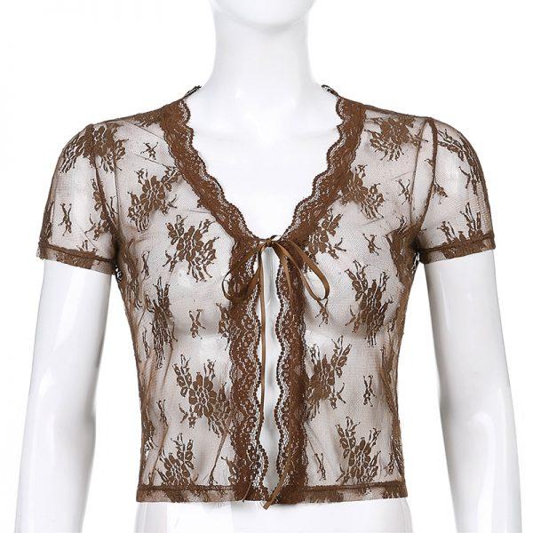 Soft girl Y2K Lace Crop Top 1