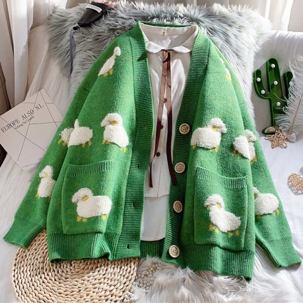 Cute Knitted Loose Cardigan with sheep 3