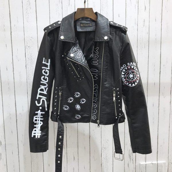 Punk Gothic Egirl Faux Soft Leather Jacket 3