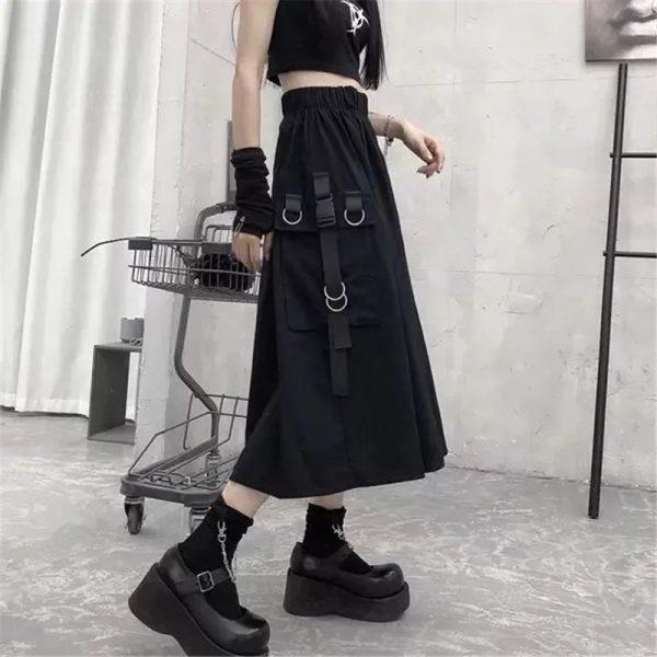 Harajuku Punk High Waist Loose A-line Cargo Skirts with chain 16