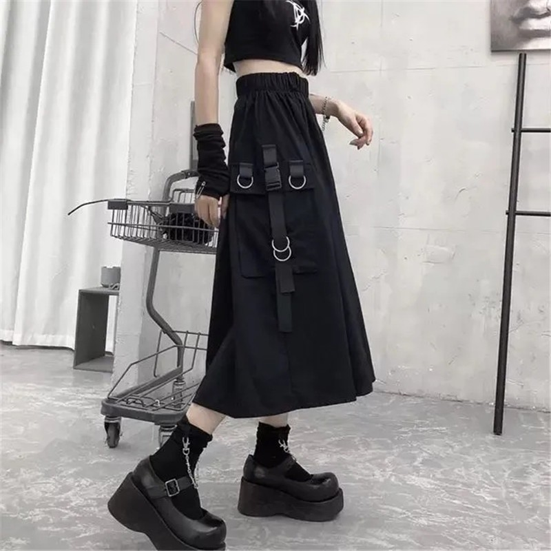 Harajuku Punk High Waist Loose A-line Cargo Skirts with chain 63