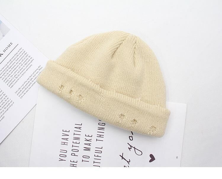 Harajuku Grunge Winter Knitted Hat with Holes, rings and pins 60