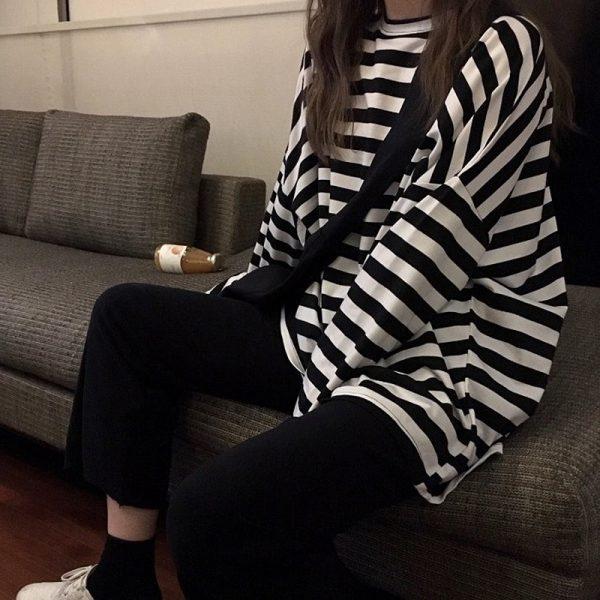 Egirl Harajuku Oversized Striped T-shirt 2