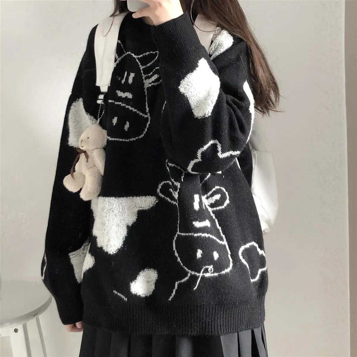 Egirl Harajuku pullover with a cow print 46