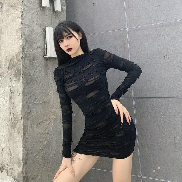 Egirl Gothiс Punk Mini Dress with holes 1