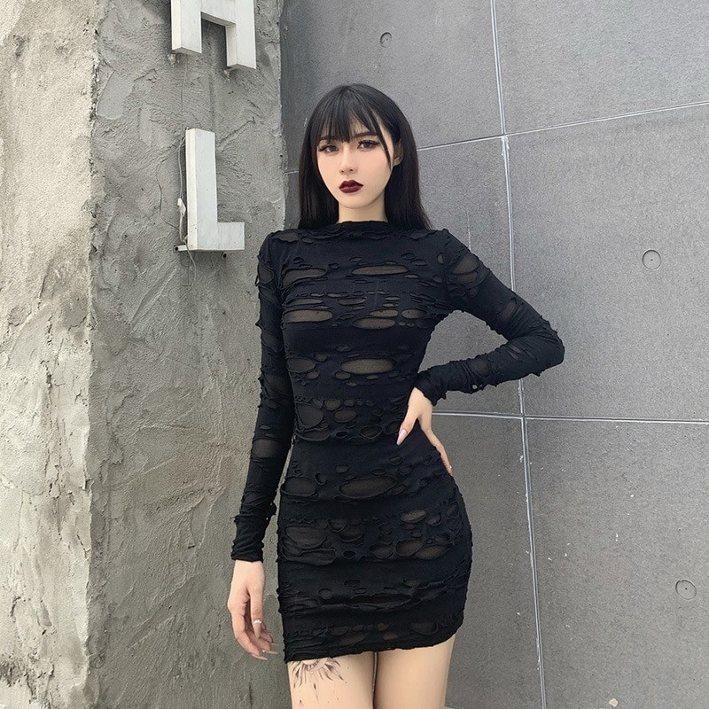Egirl Gothiс Punk Mini Dress with holes 44