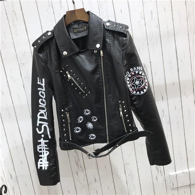 Punk Gothic Egirl Faux Soft Leather Jacket 42