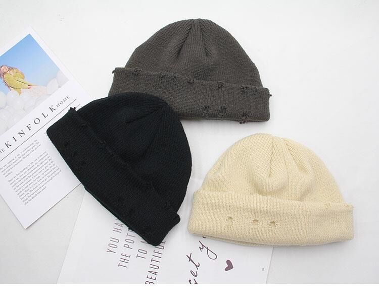 Harajuku Grunge Winter Knitted Hat with Holes, rings and pins 54