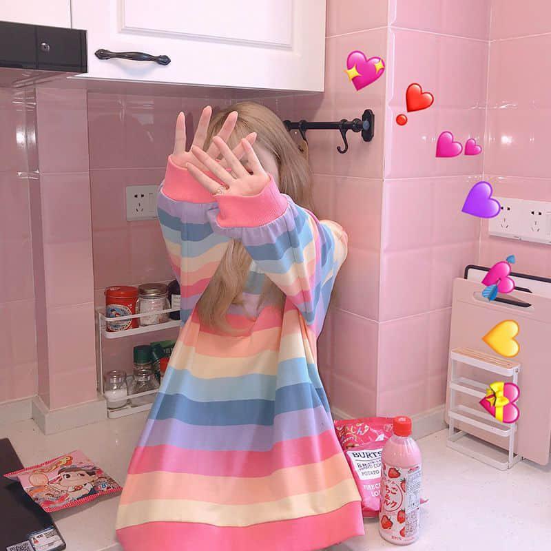 Soft Girl Harajuku Rainbow Striped T-shirt 42